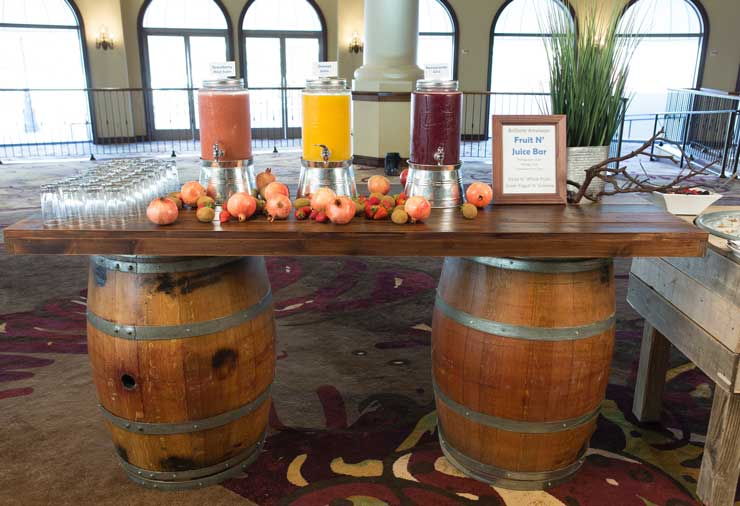 Rustic Plank With Barrels 7 Rsvp Party Rentals