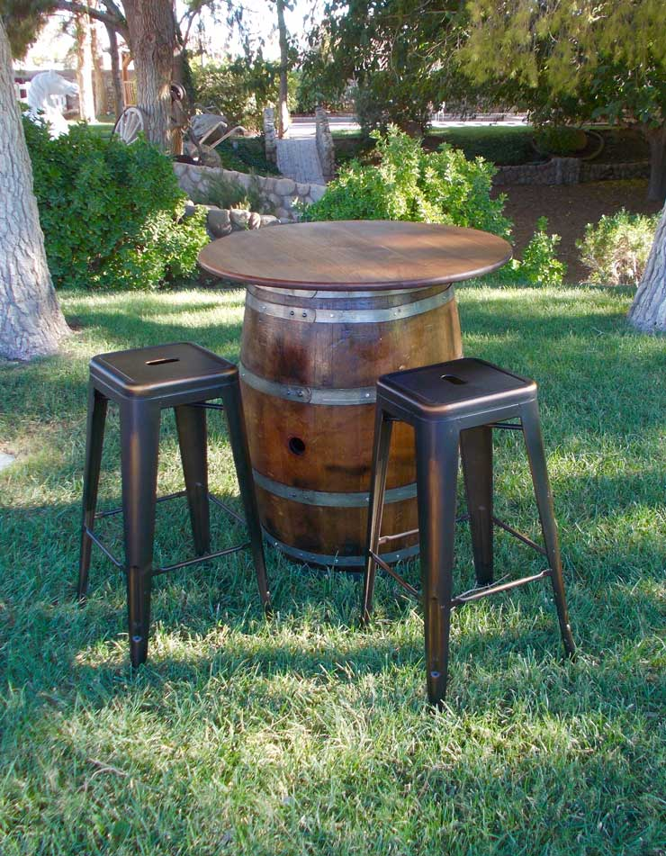 ... WINE-BARREL-WITH-WOOD-TOP-AND-BAR-STOOLS & WINE BARREL u2013 NATURAL | RSVP Party Rentals islam-shia.org